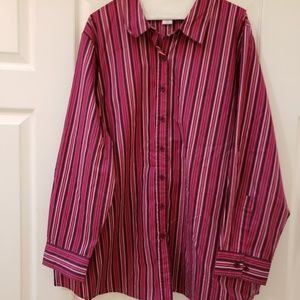Multi-colored button down long sleeve shirt